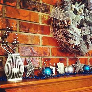 Blue, Silver, And, White, Mantle, For, Christmas, These, Lanterns, Were, At, Target, On, Clearance, For, 1