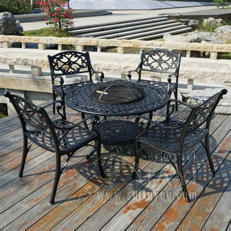 bbq garden patio table and 4 chair set cast aluminium