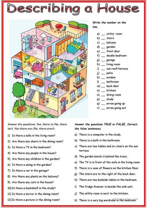 picture description house english esl worksheets