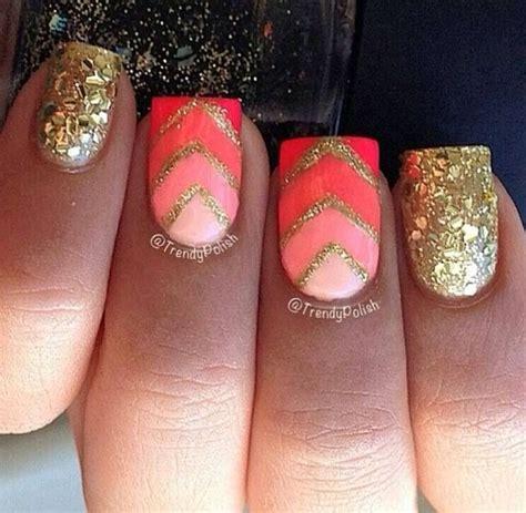orange pink  gold nail design nails nails nails