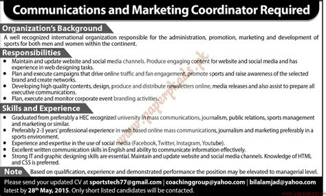 Communication Coordinator by Communication And Marketing Coordinator Required Jang