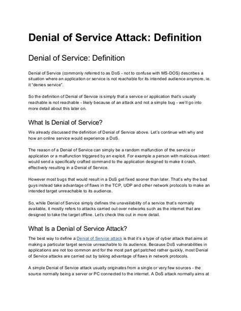 definition denial  service attack