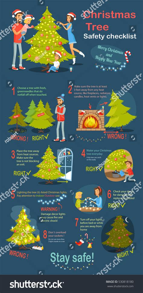 free christmas tree safety tips tree safety cheklist merry stock vector 530818180