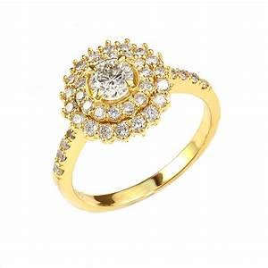 IGI Certified Center Stone 14K Yellow Gold Stunning Double ...