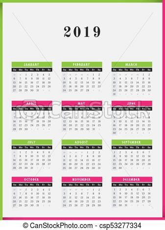 calendrier conception vertical annee couleur