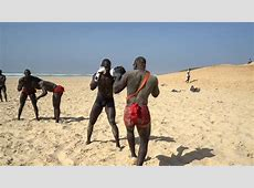 Senegalese Wrestling On The Beach Traditional African