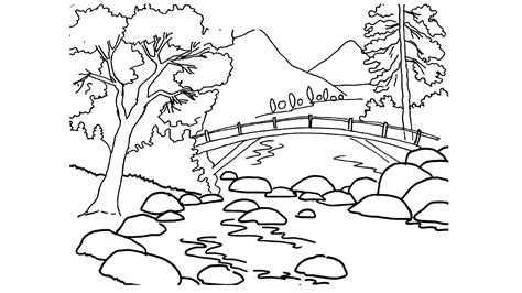 kumpulan sketsa mewarnai gambar pemandangan alam siap
