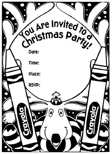 Christmas Party Invitation - Reindeer Coloring Page ...