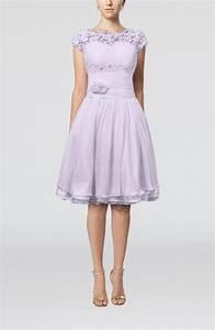 Light Purple Cinderella A-line Scalloped Edge Short Sleeve ...
