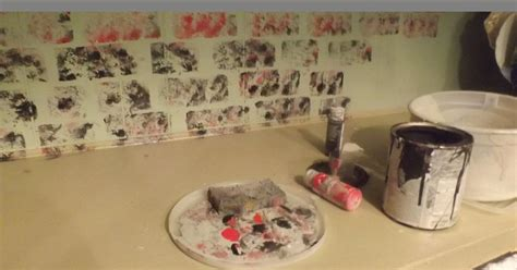 faux whitewashed brick   kitchen sponge paint