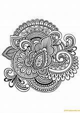 Complex Flower Pages Coloring Motifs sketch template