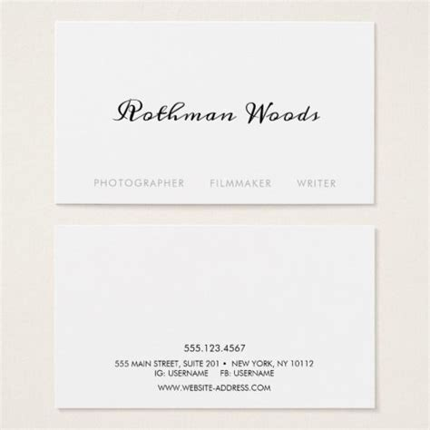 simple white handwritten calligraphy business card