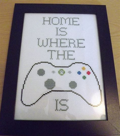 items similar to cross stitched xbox 360 decorative framed