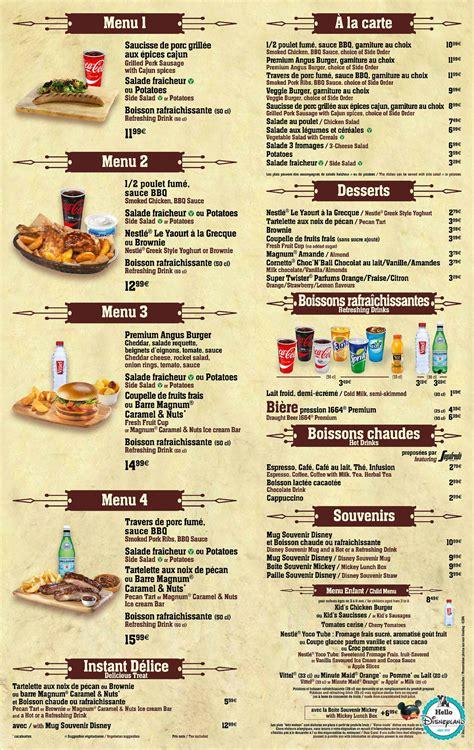 Carte De Menu Restaurant by Parcs Disney Et Disney Menus Cartes Des
