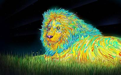 Colorful Cool Digital Psychedelic Very Lions Wallpapers