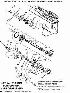 Mercury Marine 75 Hp  3 Cylinder  Gear Housing  Prop Shaft