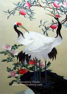 Chinese red crowned crane silk embroidery - Embroidery ...