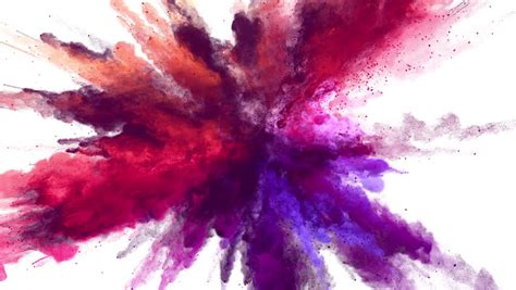 Cg Animation Of Powder Explosion With Blue, Red And Violet