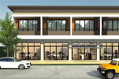 แบบก่อสร้างอาคารพาณิชย์โมเดิร์น2ชั้น - บ้านไทยดีดี