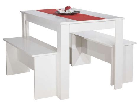 table cuisine 2 personnes ensemble 2 bancs table paros coloris blanc vente de