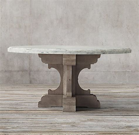 Variations in the natural veining make each piece of marble, and each table, unique do not place hot items directly on surface; 17th C. French Bastide Oak & Marble Round Dining Table | Round dining table, Restoration ...
