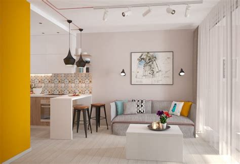 designing a small kitchen small apartment design with yellow shades by mariia 6662