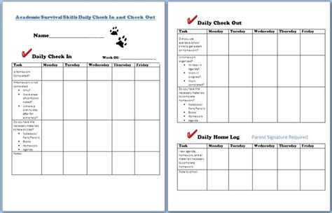 check in check out a check in and check out form to help with academic intervention rti tier 2 strategy