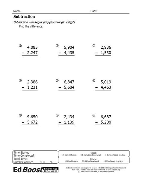 subtraction with borrowing regrouping 4 digits edboost