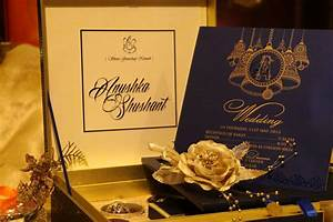 blue golden phera wedding cards boxes witty vows With wedding box cards india