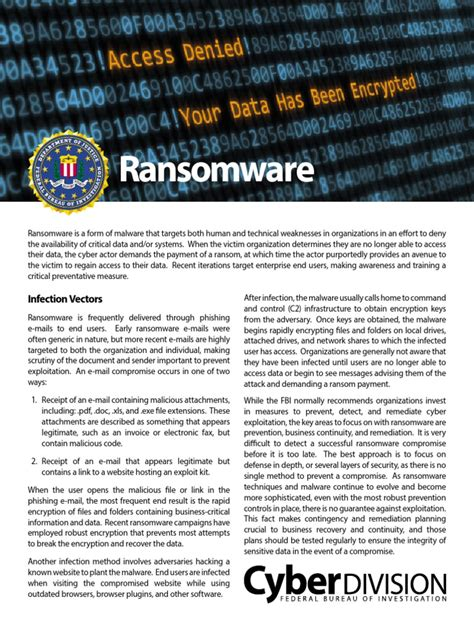 For more information, see the following section, supported file types for classification and protection. FBI Ransomware Info Sheet   Ransomware   Malware