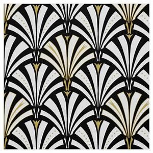 Art Deco fan pattern - black and white Fabric Zazzle