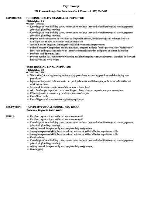 housing inspector resume sles velvet