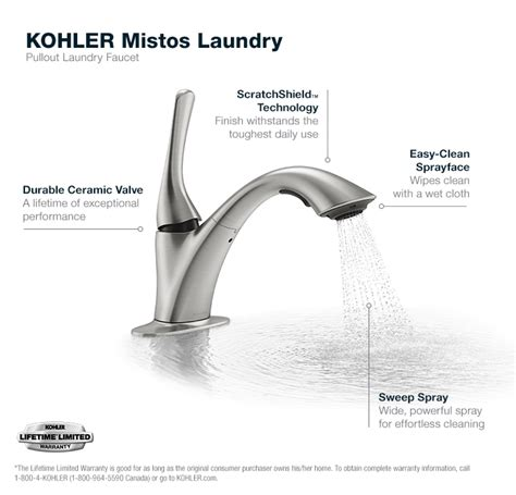 Kohler Mistos Sink Faucet by Kohler Mistos 1 Handle Pull Out Sink Laundry Faucet