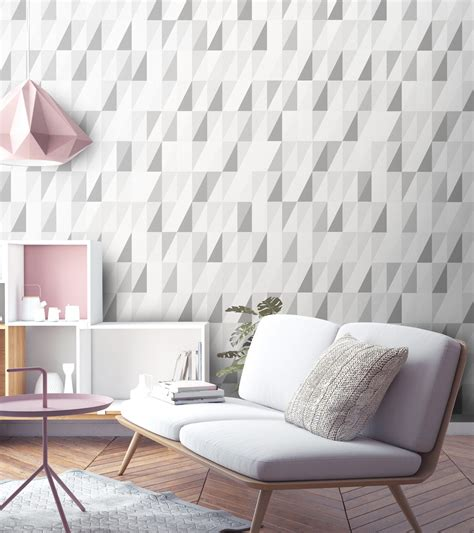 Graue Tapeten Wohnzimmer by Grey Wallpaper High End Unique Grey Geometric Print
