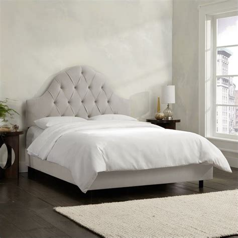 Grey Tufted Bed by Skyline Furniture Arch Tufted Bed In Light Gray