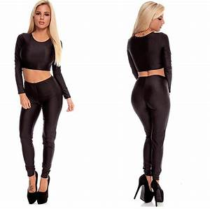 Legging two piece set. Long sleeve crop top and matching leggings. Comes in your pick of black ...