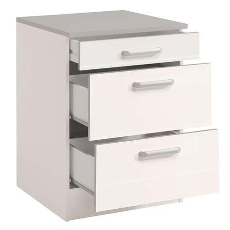 meubles cuisine bas meuble bas de cuisine contemporain 60 cm 3 tiroirs blanc