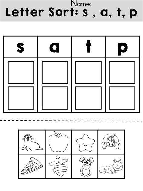 Free Letters Sorting Cut And Paste Activity >> Review Initial Sounds For Letters S, A, T, And P