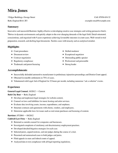 Standard Resume Sle by Sle Resume Corporate Counsel Attorney
