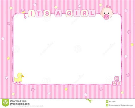 baby girl arrival card background stock photo image