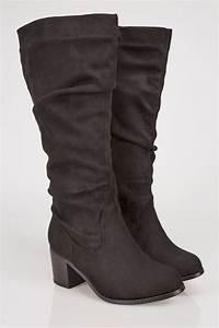 Shoe Width Codes Chart Zwart Geplooide Laarzen Met Blokhak Brede Pasvorm 37 43