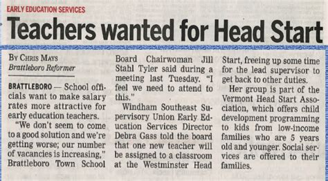 teachers wanted  head start early education services