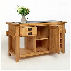 50% Off Rustic Oak Kitchen Island With Black Granite Top