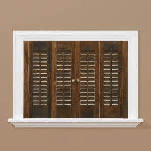 home depot interior shutters homebasics traditional wood walnut interior shutter price varies by size qstd3536 the