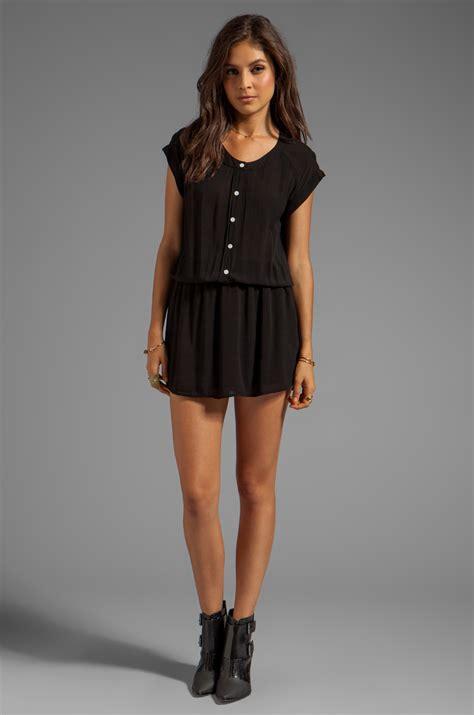 dress basic kancing lyst monrow basic blouse dress in black in black