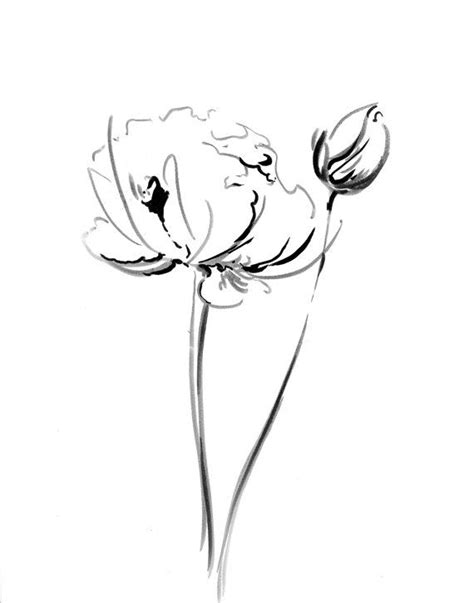 Abstract Flowers Black And White by Flowers Ink Drawing Print Minimalist Abstract Modern