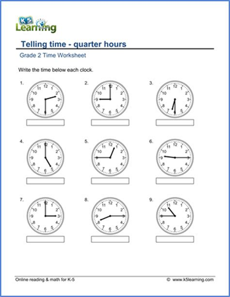 grade 2 telling time worksheets reading a clock quarter
