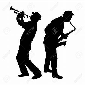 Silhouette Of A Saxophone And Trumpet Player Royalty ...