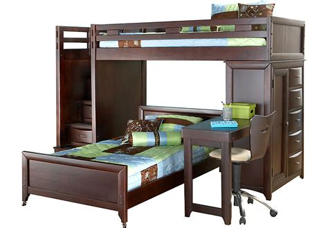 bed and desk set ivy league cherry twin twin step loft bunk with chest and
