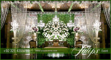 green reception stage decoration theme planner  pakistan